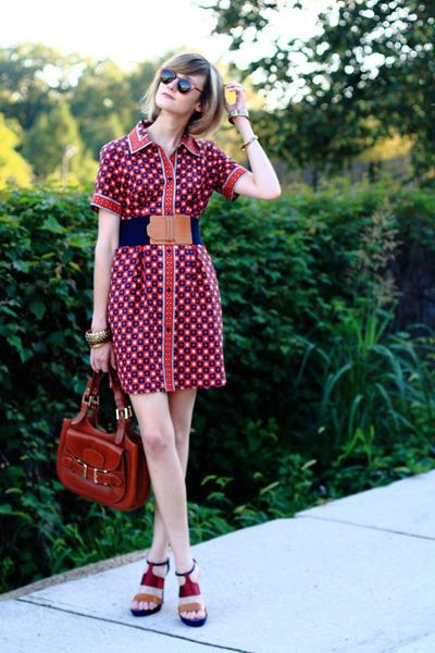 brown saddlebag Bally bag - red thrifted print Kate Hill dress