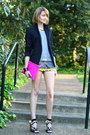 Light-yellow-scarf-print-topshop-shorts-black-zara-blazer