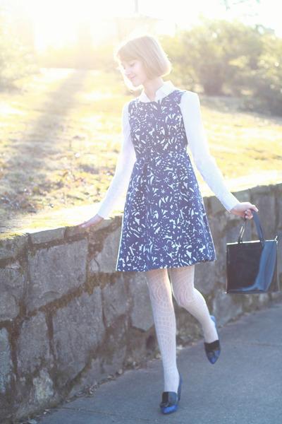 white button-down ann taylor shirt - blue floral print Zara dress