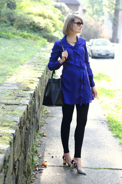 blue shirt dress Sunner dress - white striped Nicholas Kirkwood shoes