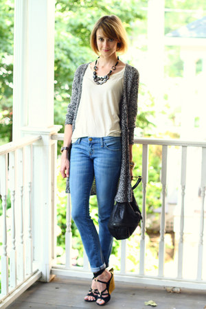 gold wedge YSL wedges - skinny Current Elliott jeans - studded bag KMRii bag