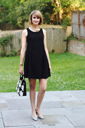 black mini dress Mango dress - black houndstooth lamarthe bag