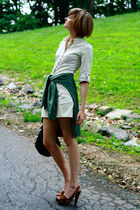 beige Joie dress - green vintage shirt - brown Miu Miu shoes - black KMRii purse