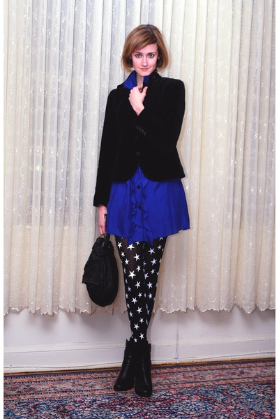 blue Sunner dress - black Express tights - black balenciaga boots - black KMRii