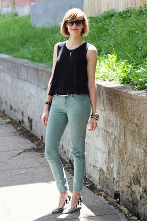 black mini Sophie Hulme bag - aquamarine skinny jeans Zara jeans
