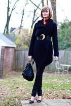 black Anthropologie sweater - ruby red vintage blouse - black H&M jeans - black