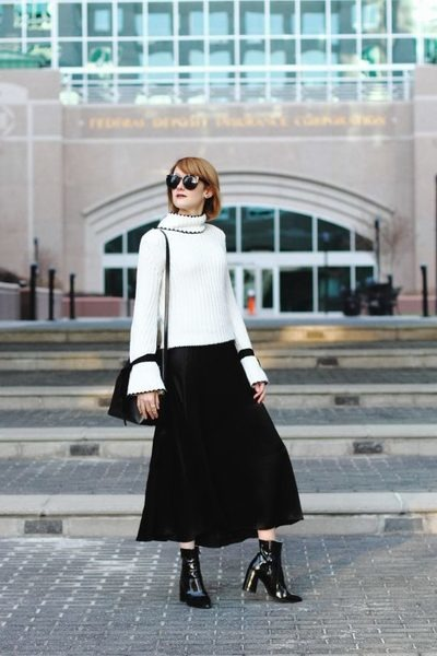 black ankle boots Mango boots - white bell sleeve Genuine People sweater