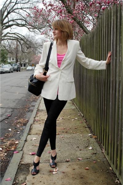 ann taylor blazer - forever 21 t-shirt - Costume Department leggings - Pour La V