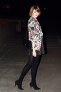 Black-lurex-topshop-dress-aquamarine-floral-print-zara-blazer