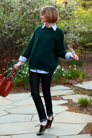 green mens sweater - blue J Press shirt - black Candela shoes - brown Bally purs