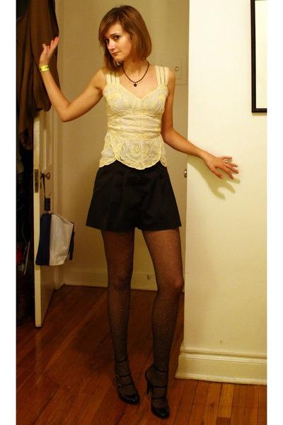 vintage necklace - Odille blouse - forever 21 shorts - Bebe tights - Report Sign