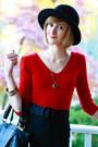 Ruby-red-bebe-sweater-black-reiss-skirt-black-boyy-bag-black-h-m-hat-bla