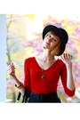 Ruby-red-bebe-sweater-black-reiss-skirt-black-boyy-bag-black-h-m-hat-bla