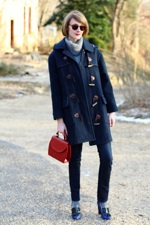 ruby red structured romwe bag - navy toggle Burberry coat