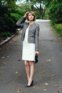 White-bodycon-adam-dress-black-boucle-zipper-banana-republic-blazer