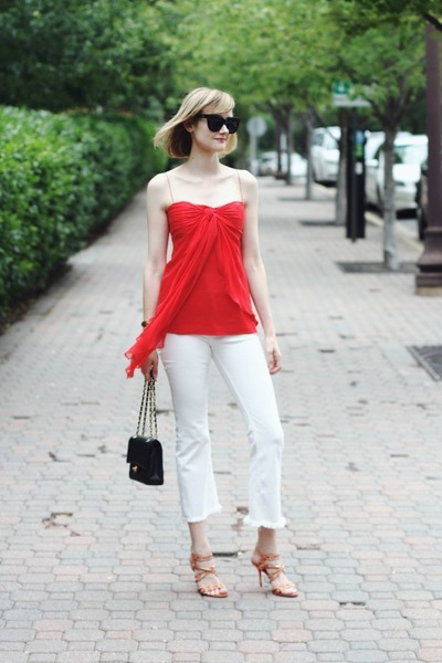 white cropped flare H&M jeans - white blazer Zara jacket