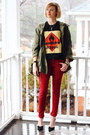 Red-skinny-zara-jeans-olive-green-anorak-cape-topshop-jacket