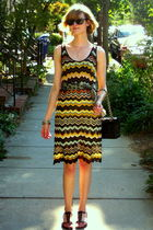 black cut-out Theory shoes - yellow zig-zag pattern m missoni dress