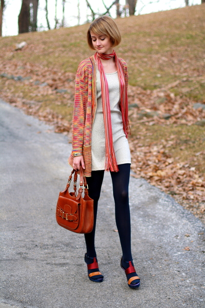 red Missoni sweater - gold H&M dress - gold Hermes bracelet - blue American Appa