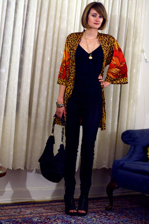 yellow leopard vintage jacket - black zipper western Givenchy boots
