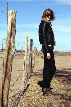 black H&M jacket - beige banana republic sweater - black True Religion jeans - b