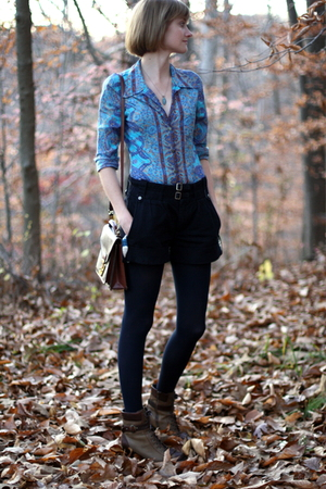 Plenty by Tracy Reese blouse - Trovata shorts - Louis Vuitton purse - born boots