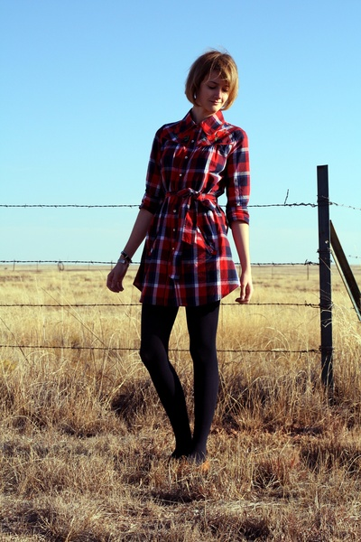 red plaid Forever 21 dress - brown flat loafers vintage shoes