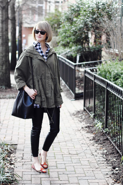 olive green anorak Topshop jacket - white buffalo plaid Boohoo shirt