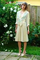 white vintage top - white Forever 21 top - beige Joseph Picone skirt - white Mar
