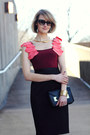Maroon-ruffles-jay-godfrey-dress-black-mini-sophie-hulme-bag