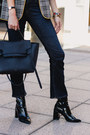 Black-patent-leather-mango-boots-navy-cropped-flare-frame-jeans