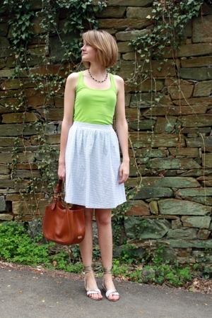American Apparel top - vintage necklace - vintage skirt - Stella McCartney shoes