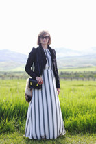 black leather romwe jacket - white maxi dress Loft dress