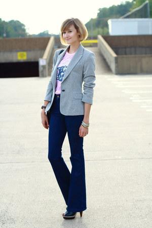 silver sparkly Zara blazer - navy high-waisted J Brand jeans