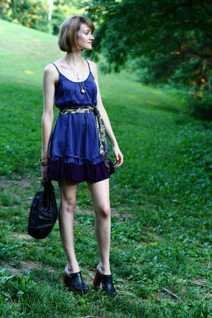 black clogs Jeffrey Campbell shoes - purple ruched hem Ella Moss dress