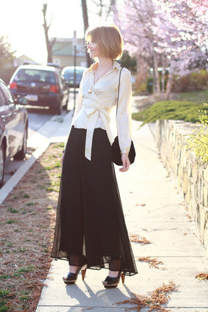 ivory satin wrap top The Limited blouse - black velvet tassel vintage bag