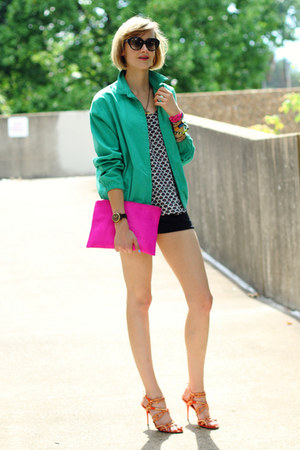 aquamarine athletic Ralph Lauren jacket - hot pink clutch asos bag