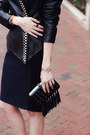 Black-leather-surface-to-air-jacket-navy-pencil-skirt-zara-skirt