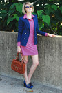 Navy-fitted-zara-blazer-salmon-shirtdress-ellie-kai-dress