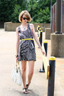 Black-optical-print-mind-code-dress-white-hobo-theory-bag-yellow-skinny-belt