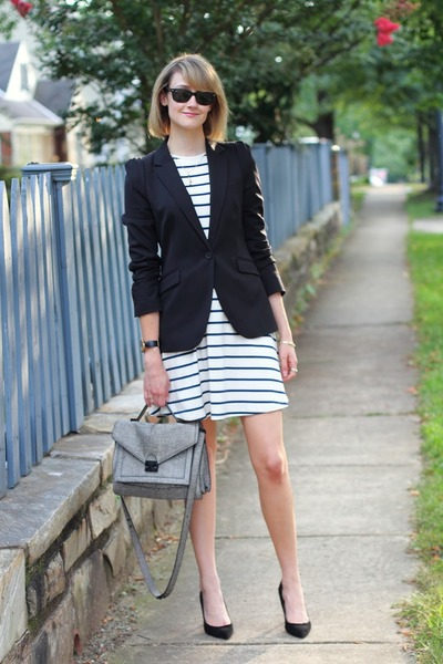 black tailored Zara blazer - ivory striped asos dress