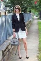 black tailored Zara blazer - ivory striped asos dress