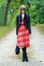 Black-knee-high-karen-millen-boots-red-patterned-romwe-dress