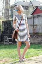 white t-shirt striped asos dress - brown shoulder bag Saddleback Leather bag