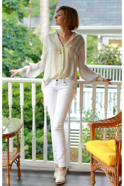 white skinny Mango jeans - white Topshop shoes - white vintage top