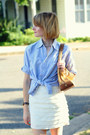 Gold-chain-flats-zara-sandals-sky-blue-button-down-j-press-shirt