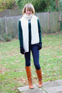 Burnt-orange-knee-high-kors-boots-navy-skinny-h-m-jeans