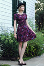 Magenta-bird-print-oasis-dress-black-porkpie-vintage-hat