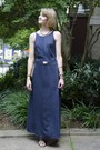 Navy-maxi-dress-vintage-dress-gold-gold-vintage-necklace