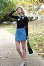 Blue-mini-fuzzy-topshop-shirt-black-lamarthe-bag
